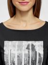 Платье трикотажное с принтом oodji #SECTION_NAME# (черный), 14001071-12/46148/2900P - вид 4