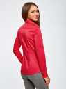 Рубашка хлопковая с V-образным вырезом oodji для женщины (красный), 21402211/33431/4D00N