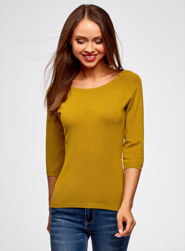 Джемпер базовый с рукавом 3/4 oodji для женщины (желтый), 73812552-2B/45904/5700N