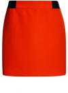 Юбка короткая с отделкой из искусственной кожи oodji #SECTION_NAME# (красный), 11601179-10/46415/4500N