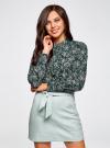 Блузка из струящейся ткани с воланами oodji #SECTION_NAME# (зеленый), 21411090/36215/6912E - вид 2