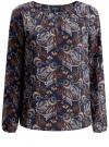 Блузка свободного кроя с вырезом-капелькой oodji #SECTION_NAME# (синий), 21400321-2/33116/7937E