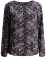 Блузка свободного кроя с вырезом-капелькой oodji для женщины (синий), 21400321-2/33116/7937E