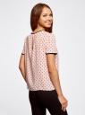 Блузка с коротким рукавом и контрастной отделкой oodji #SECTION_NAME# (розовый), 11401254/42405/4029G - вид 3