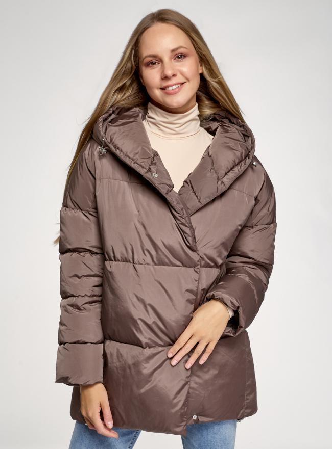 Куртка удлиненная с капюшоном oodji для женщины (коричневый), 10208004/45928/3700N