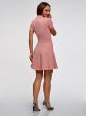Платье из фактурной ткани с расклешенным низом oodji #SECTION_NAME# (розовый), 14011021/46895/4B00N - вид 3