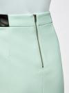 Юбка короткая с отделкой из искусственной кожи oodji #SECTION_NAME# (зеленый), 11601179-10/46415/6500N - вид 5