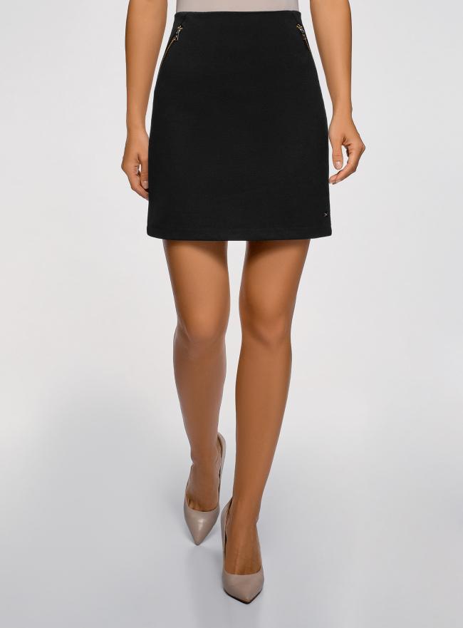 Юбка мини с карманами oodji для женщины (черный), 14101100/33185/2900N