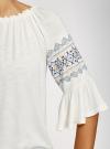 Блузка трикотажная с вышивкой на рукавах oodji #SECTION_NAME# (белый), 14207003/45201/1200N - вид 5