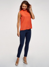 Топ базовый из струящейся ткани oodji для женщины (оранжевый), 14911006-2B/43414/5500N - вид 6
