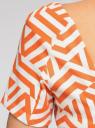 Платье трикотажное с графическим принтом oodji #SECTION_NAME# (оранжевый), 14018001/45396/5912G - вид 5