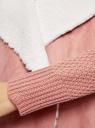 Кардиган вязаный с полами из искусственного меха oodji для женщины (розовый), 73205182-1/31328/4B00N