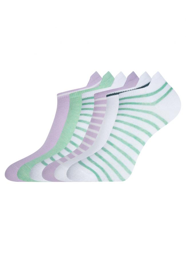 Комплект укороченных носков (6 пар) oodji #SECTION_NAME# (разноцветный), 57102606T6/49126/8