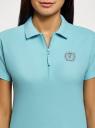 Поло на молнии с вышивкой oodji для женщины (синий), 19308002-1/48433/7000P