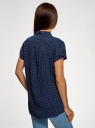 Блузка из вискозы с нагрудными карманами oodji #SECTION_NAME# (синий), 11400391-4B/24681/7912D - вид 3