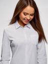 Рубашка хлопковая с нагрудным карманом  oodji #SECTION_NAME# (белый), 13K03013-1/36217/1029D - вид 4