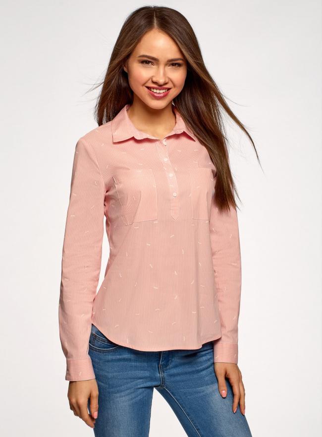 Рубашка принтованная с карманами oodji для женщины (розовый), 13K03002-2B/45202/4110S