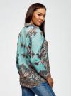 Блузка принтованная из легкого хлопка oodji #SECTION_NAME# (бирюзовый), 21411144-1/12836/7335E - вид 3