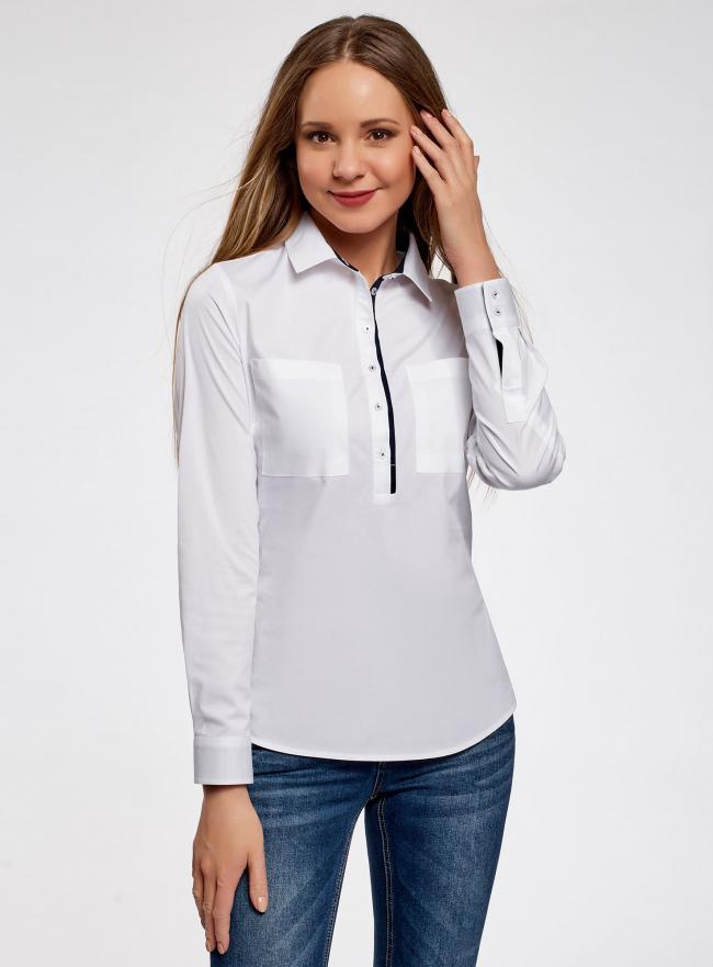 Рубашка приталенная с нагрудными карманами oodji #SECTION_NAME# (белый), 11403222-3/42468/1000N