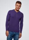 Пуловер базовый с V-образным вырезом oodji #SECTION_NAME# (фиолетовый), 4B212007M-1/34390N/8801M - вид 2