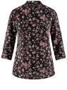 Блузка вискозная с регулировкой длины рукава oodji для женщины (черный), 11403225-2B/26346/2923F