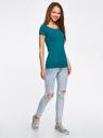 Комплект приталенных футболок (2 штуки) oodji #SECTION_NAME# (зеленый), 14701005T2/46147/6C00N - вид 6