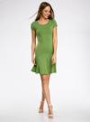 Платье трикотажное с воланами oodji #SECTION_NAME# (зеленый), 14011017/46384/6200N - вид 2