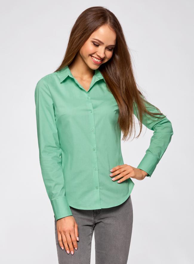 Рубашка базовая из хлопка oodji для женщины (зеленый), 11403227B/14885/6501N