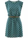 Платье принтованное из вискозы oodji #SECTION_NAME# (зеленый), 11910073-2/45470/6912D