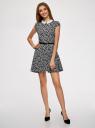 Платье принтованное с воротником oodji для женщины (черный), 11900194/24808/2910F