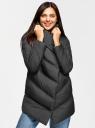 Куртка стеганая с объемным воротником oodji для женщины (черный), 10200079/45913/2900N
