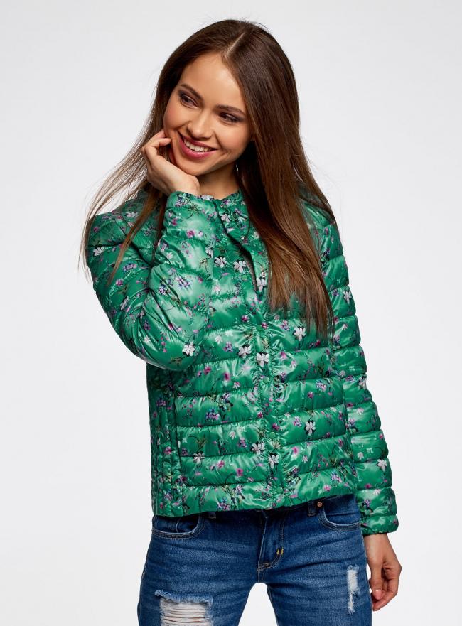 Куртка стеганая с круглым вырезом oodji для женщины (зеленый), 10204040-1B/42257/6D41F