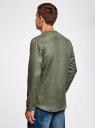 Рубашка льняная без воротника oodji #SECTION_NAME# (зеленый), 3B320002M/21155N/6600N - вид 3