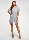 Платье прямое с открытыми плечами oodji #SECTION_NAME# (серебряный), 14007146/49237/9191X - вид 2