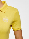 Поло с металлическими пуговицами и вышивкой на груди oodji #SECTION_NAME# (желтый), 29311001/39813N/5100N - вид 5
