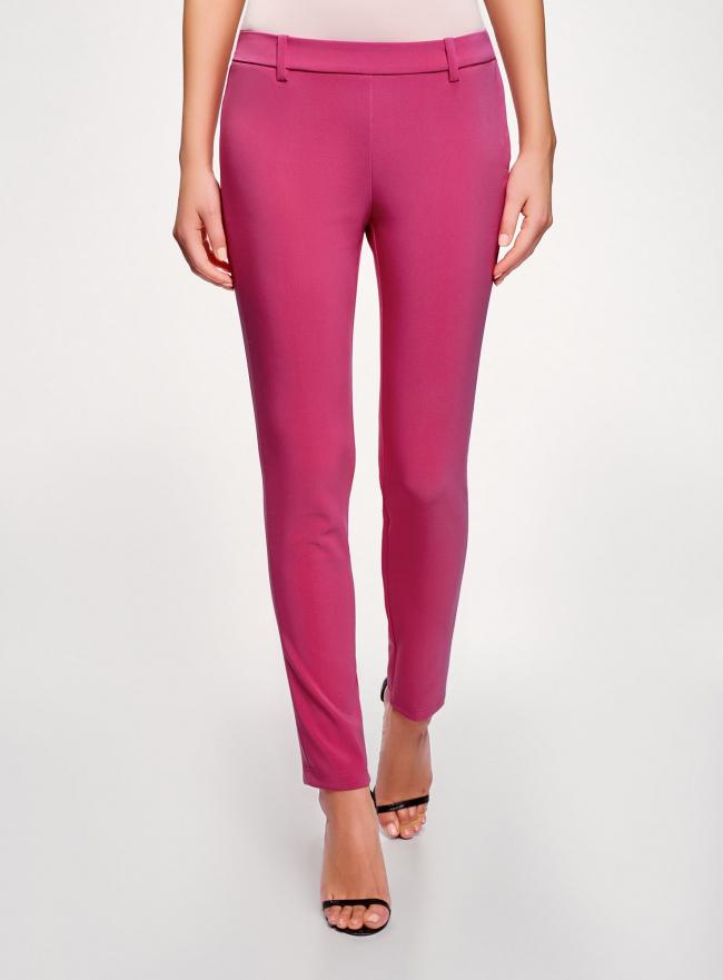 Брюки облегающие на эластичном поясе oodji для женщины (розовый), 11706196B/42250/4700N