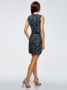Платье льняное без рукавов oodji для женщины (синий), 12C00002-1B/16009/7962F