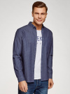 Рубашка принтованная с нагрудным карманом oodji для мужчины (синий), 3L320014M/49756N/7570D - вид 2