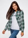 Рубашка в клетку с нагрудными карманами oodji #SECTION_NAME# (зеленый), 11400433/43223/6912C - вид 2