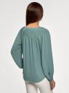 Блузка свободного силуэта с завязками на манжетах oodji #SECTION_NAME# (зеленый), 21414003/42543/6C00N - вид 3