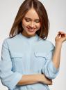 Блузка вискозная с регулировкой длины рукава oodji #SECTION_NAME# (синий), 11403225-9B/48458/7000N - вид 4