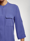Блузка вискозная с регулировкой длины рукава oodji #SECTION_NAME# (синий), 11403225-9B/48458/7500N - вид 5