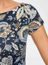 Платье трикотажное с цветочным принтом oodji для женщины (синий), 14001117-8/15640/7933F