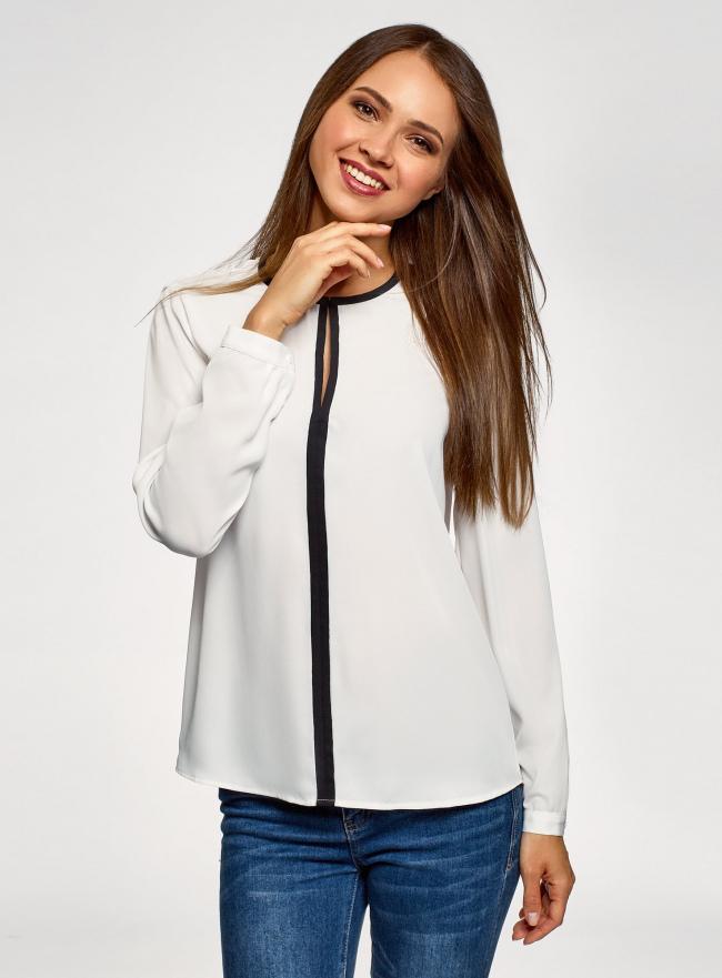Блузка из струящейся ткани с контрастной отделкой oodji #SECTION_NAME# (белый), 11411059B/43414/1229B