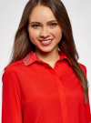 Блузка с декором на воротнике oodji #SECTION_NAME# (красный), 11403172-3/31427/4500N - вид 4