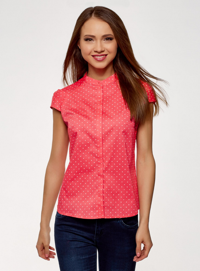 Рубашка с воротником-стойкой и коротким рукавом реглан oodji #SECTION_NAME# (розовый), 13K03006B/26357/4D10Q