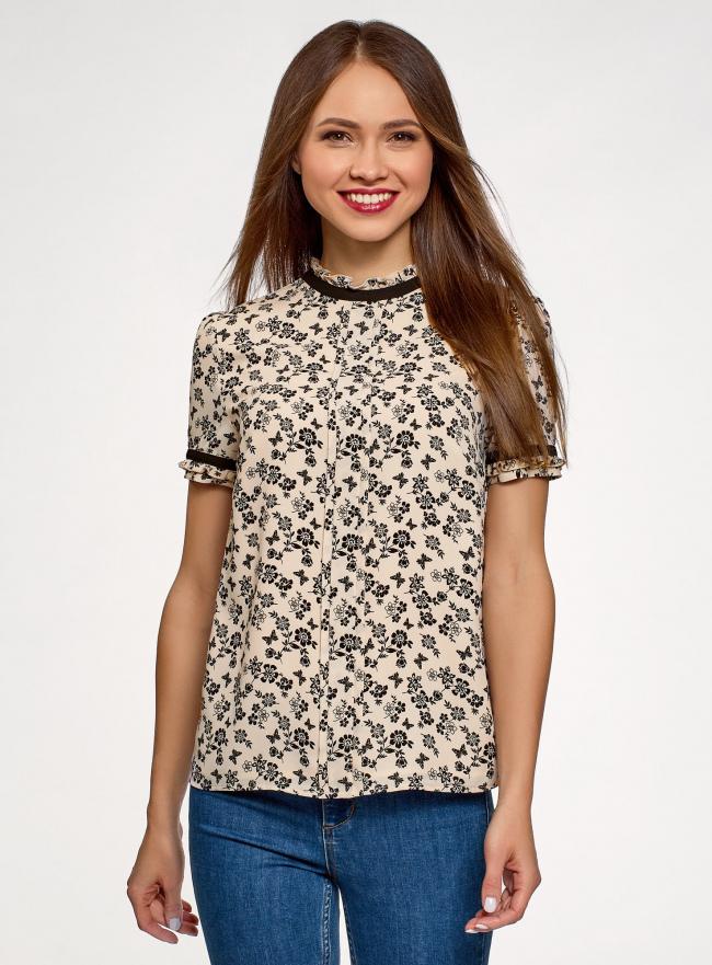 Блузка из струящейся ткани с контрастной отделкой oodji для женщины (бежевый), 11401272-1/36215/3029F