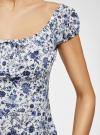 Платье принтованное из хлопка oodji #SECTION_NAME# (белый), 11902047-3/14885/1275F - вид 5