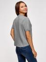 Джемпер прямого силуэта с коротким рукавом oodji #SECTION_NAME# (серый), 63812651/46096/2300M - вид 3