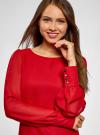 Платье прямого силуэта из струящейся ткани oodji #SECTION_NAME# (красный), 11900150-13/13632/4500N - вид 4